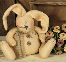 """Primitive Fabric Sitting EASTER BUNNY RABBIT Soft & Fuzzy 9""""H w/o Ears Whimsical"""