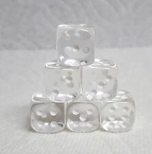 DICE 12mm CHX TL CLEAR w/WHITE PIPS - SET OF SIX! SMALL SIZE, CRYSTAL CLEAR!