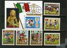 MANAMA 1970 SOCCER WORLD CUP MEXICO SET OF 6 STAMPS & S/S OVERPRINTED PERF.MNH