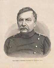 General Gustav von Alvensleben HOLZSTICH von 1871 Deutsch-Französischer Krieg