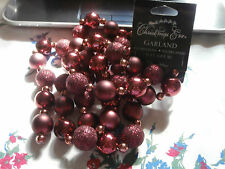Christmas Eve Garland Santa's Best 6 Feet Sparkle Matte Red Maroon