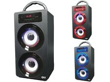 QFX BT-140 Bluetooth Portable Rechargeable Speaker +FM Radio +USB/SD +LED Light