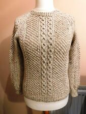 FABULOUS LADIES HAND KNITTED CREAM FLECK ARAN CABLE JUMPER SIZE 10/12