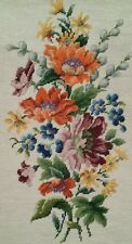 Vtg Floral Needlepoint LARGE Finished Bench Chair Pillow Wall Decor Cushion