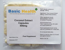 Pure Coconut Extract 60 x 500mg Capsules Thyroid Health Energy IBS Psoriasis