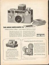 Original 1959 Argus Match - Matic C-3 Camera Vintage Print Ad