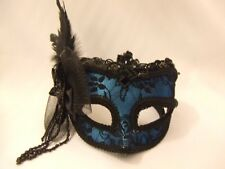 Venetian Mask ~ Masquerade Party ~  Ball ~ Blue satin and black lace