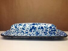 BLUE & WHITE GRANITEWARE ENAMELED SPATTER WARE BUTTER DISH WITH LID TOPPER