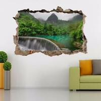 Jungle Waterfall Smashed Wall Decal Wall Sticker Art Mural Forest Trees H491