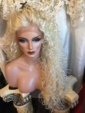 "AWESOME  32"" Curly LONG Platinum Blonde Lace Front HUMAN HAIR BLEND Wig!"