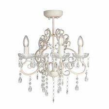 Glass CRYSTAL CHANDELIER 4 Light Shabby French Provincial Ceiling Lamp VIENNA