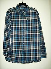 Faded Glory Men's Plaid Flannel Shirt Size XL Blue & Gray Long Sleeves NEW