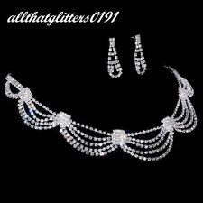 Stunning Crystal / Diamonte Necklace & Earring Bib Set Silver Plated