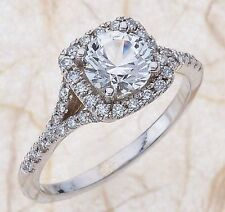 White Sapphire & Diamonds 1.50ct Halo Engagement Wedding Ring 14K White Gold RY2