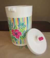 Tupperware NEW 2 QT Pitcher Push Button SEAL Pink Fuchsia HIBISCUS TROPICAL