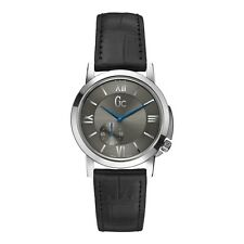 Guess Collection Women's Slim Silver Tone Steel Black Leather Watch X59010L5S