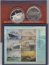 QUEEN MARY & QUEEN MARY 2 SILVER MEDALS & OCEAN LINER STAMPS ROYAL MINT ISSUE