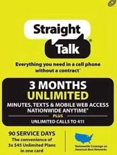 Straight talk Unlimited Talk Text Web 3 Month 90 Days Auto Refill is Buy it now