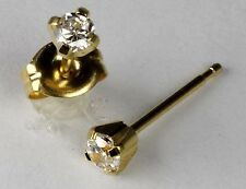 Studex Sensitive Gold 3mm Clear Cubic Zirconia CZ Stud Earrings