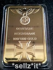 1 oz GOLD NAZI IRON CROSS BAR WW1 WW2 COIN DEUTSCHE REICHSBANK 100 MILL GERMANY