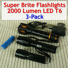 Super Bright LED Flashlights 2000 Lumen (3-pack different sizes/types)
