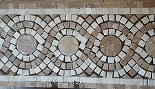 "15' lg (10-18""x6""Tiles ) Beautiful Travertine Marble Mosaic Swirl Tile DK Doric"