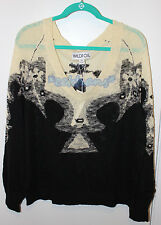 NWT Wildfox Couture Patterned Cream and Black Sweater Jumper Sz M Medium
