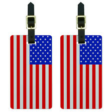 USA American Flag Luggage Suitcase Carry-On ID Tags Set of 2