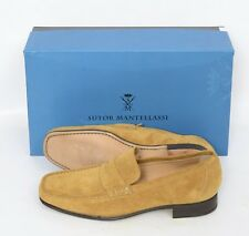 Mens SUTOR MANTELLASSI Hazel Tan Suede Penny Loafers Shoes UK 9 US 10 D $780
