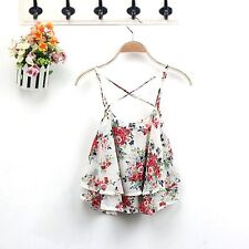 Fashion Women Summer Floral Vest Top Sleeveless Casual Tank Blouse Tops T-Shirt