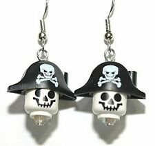 LEGO PIRATE SKELETON HEAD DANGLE EARRINGS (L023)