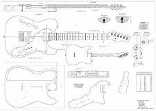 Fender tele thinline 69 - Electric Guitar Plans Actual Size full scale drawing