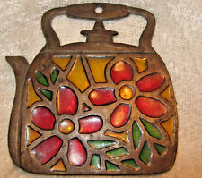 "Vintage Trivet Metal Tea Kettle Stained Glass Rustic Heavy 5""x 5"" Good Condition"
