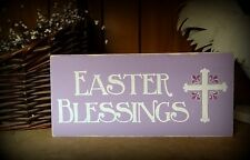 Easter Blessings Christian Cross Wood Shelf Sitter Table Block Sign Decoration