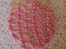 NEW PINK SHINY CROCHET MESH BUN NET SNOOD BALLET DANCE GYM RIDING HAIR ACCESSORY
