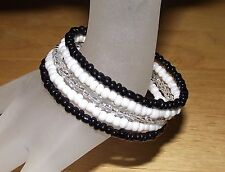 Elegant Black White Clear Beaded Wrap / Coil / Bangle Bracelet Glass Beads NEW!