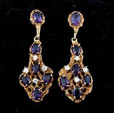 """Vintage Amehtyst Diamonds 14k Yellow Gold 1.75"""" Long Earrings Drops Chandellier"""