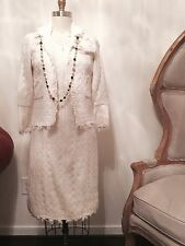 Chanel Dress Jacket white tweed Size38-40 With Camellia
