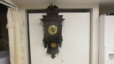 Vintage Dom Gong Mkd German Chiming Wood Key Wind Pendulum Wall Clock - AS IS