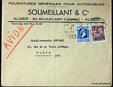 ALGERIE  1945  LETTRE AVION SOUMEILLANT ALGER  ENVELOPPE     165CA84