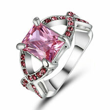 Pink Sapphire CZ Ring Women's 10KT White Gold Filled Wedding&Engagement Size 8