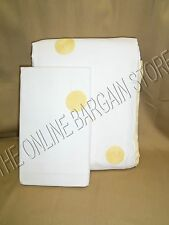Pottery Barn Organic Embroidered Dot Bed Duvet Cover Yellow Twin & Euro Sham
