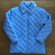 Womens Hanna Andersson Blue Quilted Coat Jacket Faux Fur Collar Zip Size S Small
