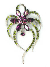 Floral pin brooch with Purple green rhinestone crystal