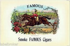 CIGAR BOX LABEL ORIGINAL MOEHLE LITHO BROOKLYN C1900 FAMOUS JOCKEY HORSERACING