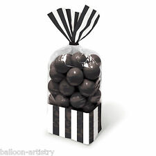 10 Classic Stripes BLACK Treat Loot Party Sweet Candy Bags & Twist Ties