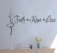 Faith Hope Love Flowers Home Decor Vinyl Wall Decal Inspirational Words Sticker