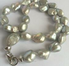 NEW 10-16mm SOUTH SEA GRAY BAROQUE PEARL NECKLACE 18 ""