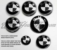 WHITE & BLACK CARBON FIBER BMW Badge Emblem Overlay HOOD TRUNK RIMS FITS ALL BMW