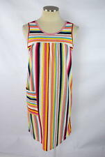 Vtg 70s Retro Rainbow Striped Terry Cloth Swim Cover Up Sleeveless Sun Dress M